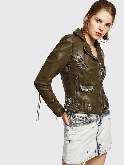 Diesel - L-SINYA-A, Military Green - Leather jackets - Image 4