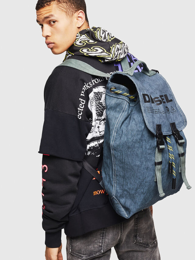 Diesel - VOLPAGO BACK, Blue Jeans - Backpacks - Image 5