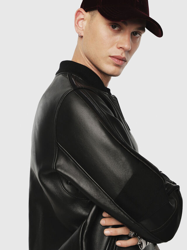 Diesel - L-YUTAKIS, Black - Leather jackets - Image 3