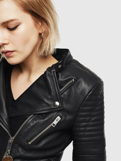 Diesel - L-IGE-NEW, Black - Leather jackets - Image 5