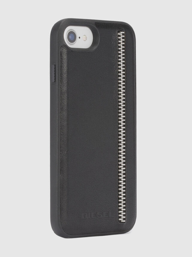 Diesel ZIP BLACK LEATHER IPHONE 8 PLUS/7 PLUS/6s PLUS/6 PLUS CASE, Black - Cases - Image 5