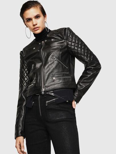 Diesel - LIVIA, Black - Leather jackets - Image 4