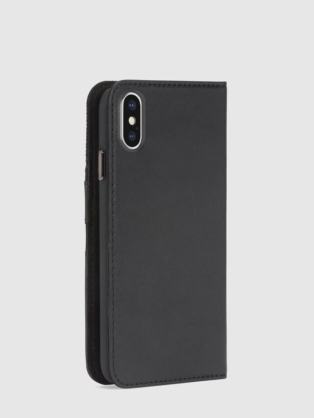 Diesel BLACK DENIM/STUD/ZIPPER IPHONE X FOLIO, Black - Flip covers - Image 5