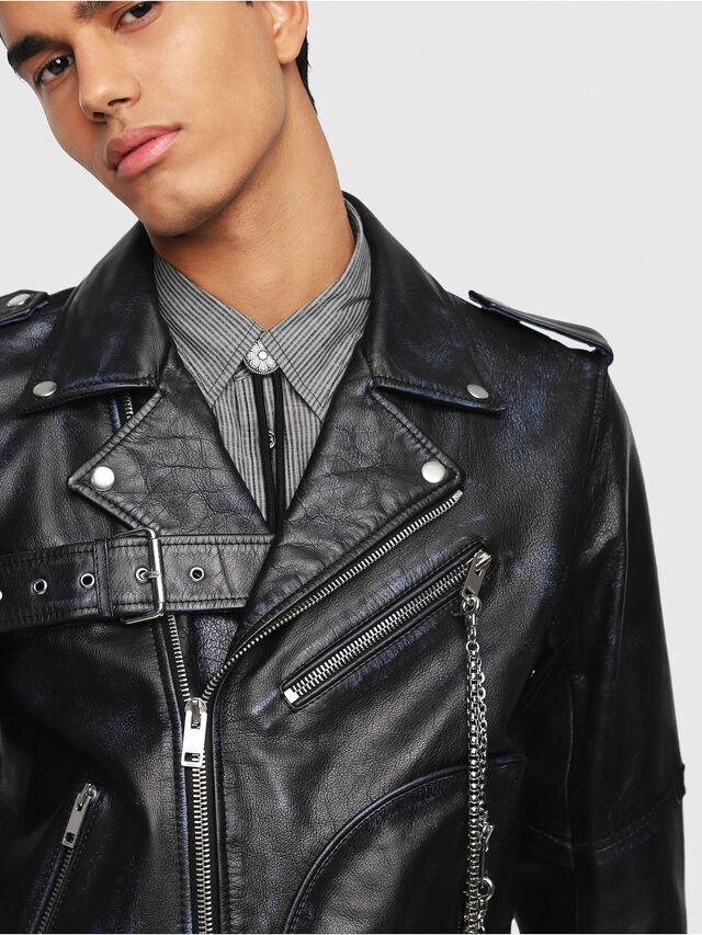 Diesel - L-KIO, Black/Blue - Leather jackets - Image 3