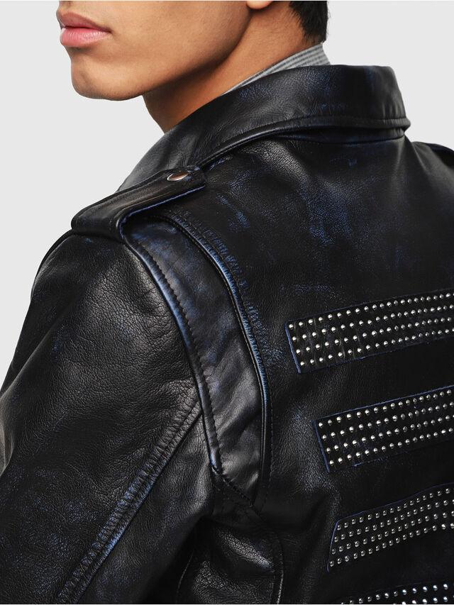 Diesel - L-KIO, Black/Blue - Leather jackets - Image 4