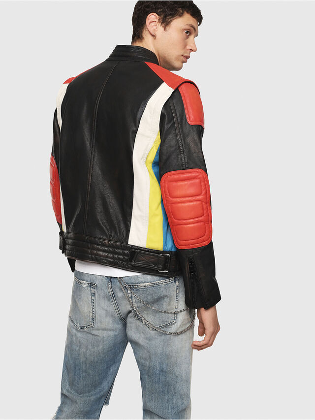 Diesel - L-YUJA, Black/Red - Leather jackets - Image 2