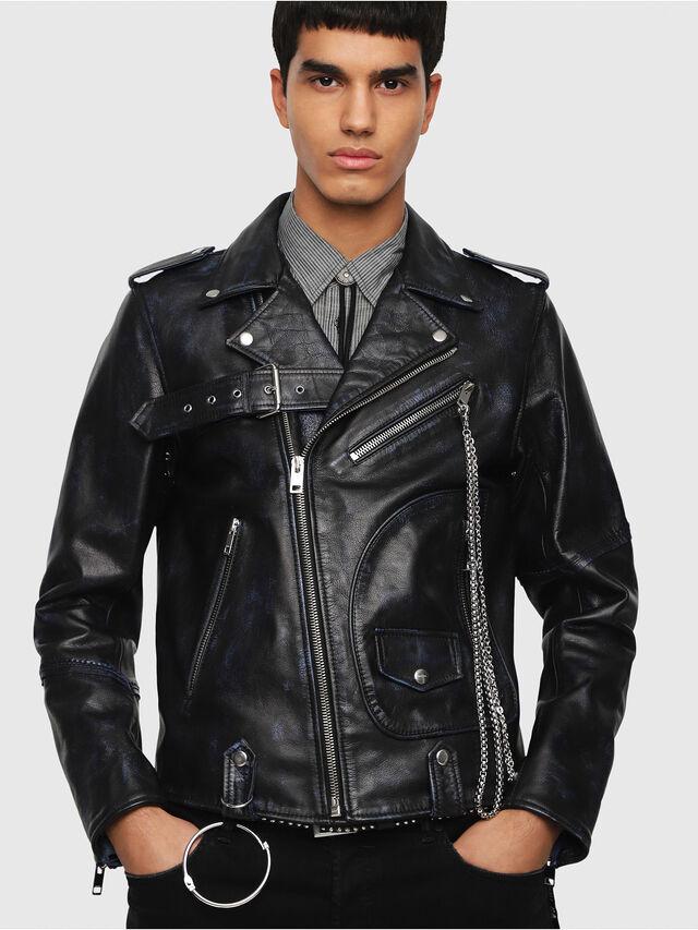 Diesel - L-KIO, Black/Blue - Leather jackets - Image 1