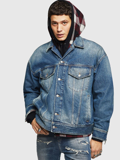 Diesel - D-LORY, Medium blue - Denim Jackets - Image 1