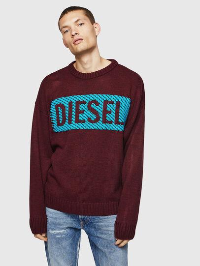 Diesel - K-LOGOX-C, Bordeaux - Knitwear - Image 1