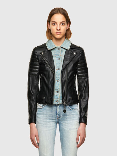 Diesel - L-AURO, Black - Leather jackets - Image 1