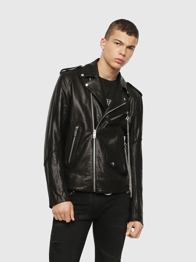 Diesel - SE-LEANDRO, Black Leather - Leather jackets - Image 1