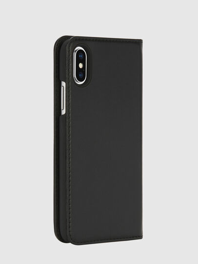 Diesel - SLIM LEATHER FOLIO IPHONE X, Black - Flip covers - Image 4