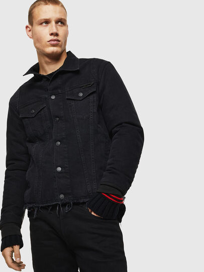 Diesel - D-BLIT, Black/Dark grey - Denim Jackets - Image 1