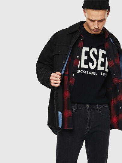 Diesel - D-WELLES, Black/Red - Denim Shirts - Image 3