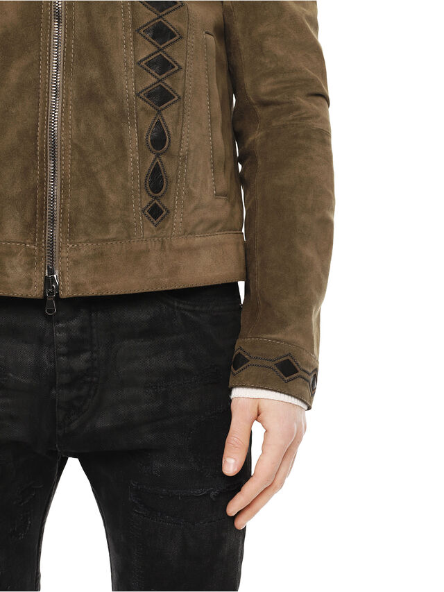 Diesel - LYRICH, Green/Black - Leather jackets - Image 6