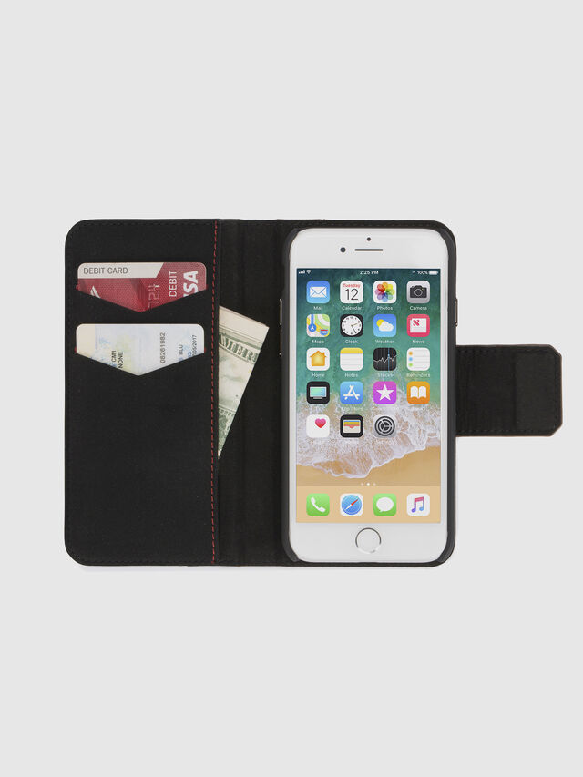 Diesel BLACK LINED LEATHER IPHONE 8/7 FOLIO, Black - Flip covers - Image 7