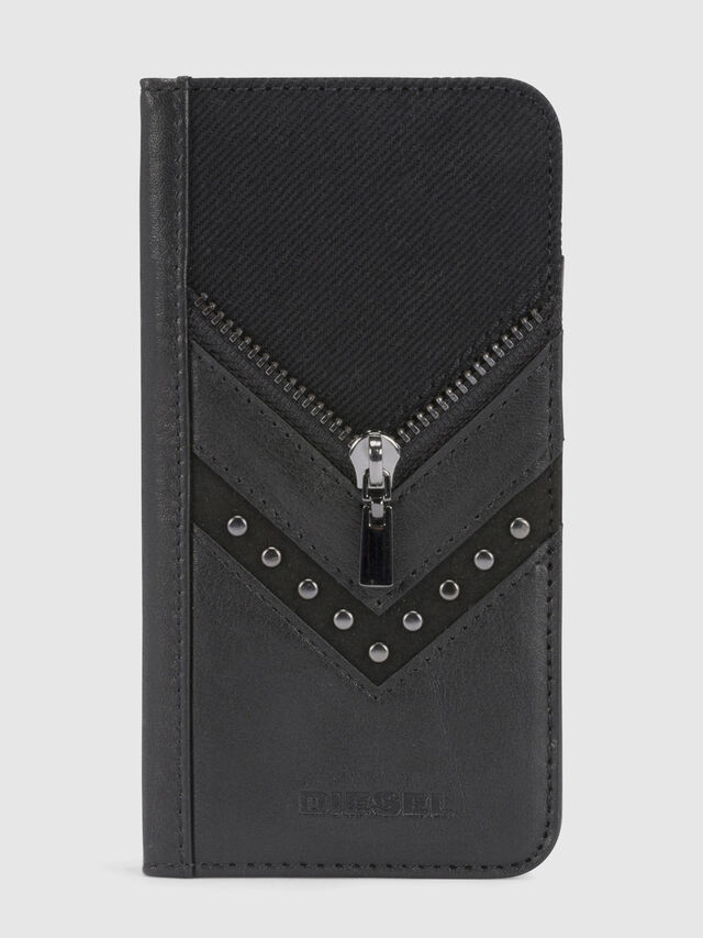 Diesel BLACK DENIM/STUD/ZIPPER IPHONE X FOLIO, Black - Flip covers - Image 2