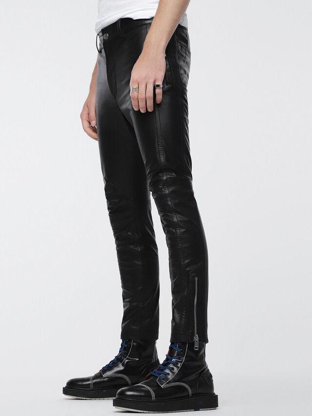 Diesel P-MONTE-L, Black Leather - Pants - Image 3