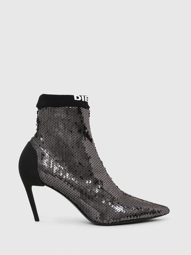 D-SLANTY MASM, Black/Silver - Ankle Boots