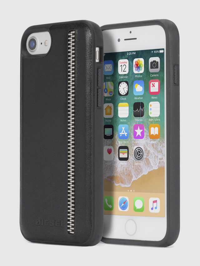 Diesel - ZIP BLACK LEATHER IPHONE 8 PLUS/7 PLUS/6s PLUS/6 PLUS CASE, Black - Cases - Image 1