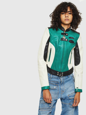 L-ALLIE, White/Green - Leather jackets