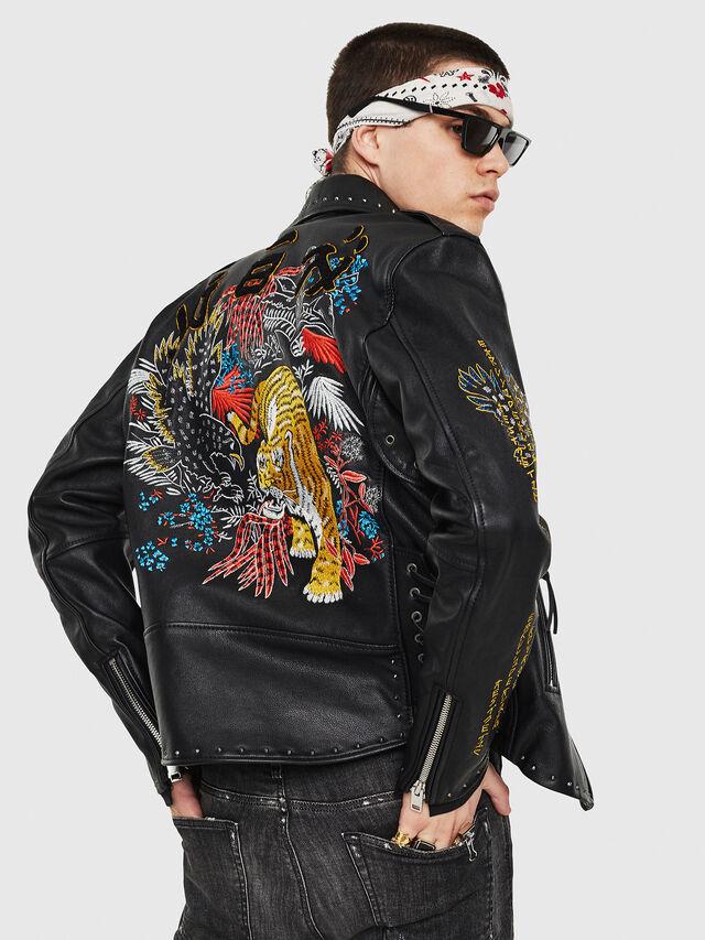 Diesel - L-JUNER, Black - Leather jackets - Image 2