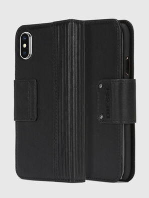 BLACK LINED LEATHER IPHONE X FOLIO, Black - Flip covers