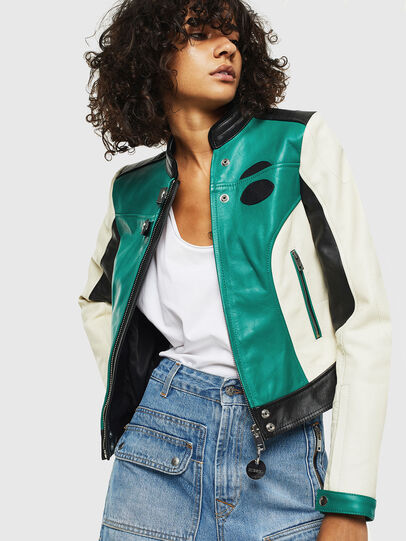 Diesel - L-ALLIE, White/Green - Leather jackets - Image 6
