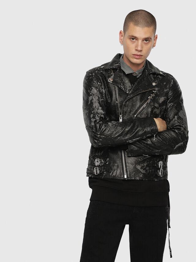 Diesel - L-KRAMPIS-A, Black Leather - Leather jackets - Image 1