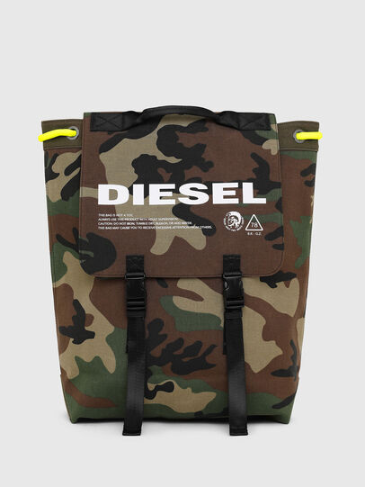 Diesel - VOLPAGO BACK, Green Camouflage - Backpacks - Image 1