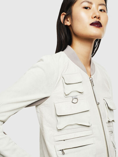 Diesel - L-CERITE, White - Leather jackets - Image 3