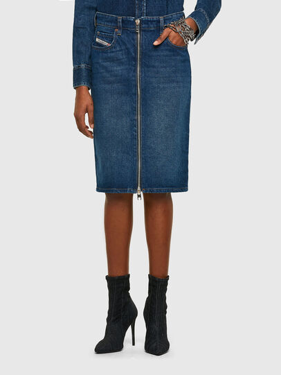 Diesel - DE-PENCIL-ZIP, Medium blue - Skirts - Image 1