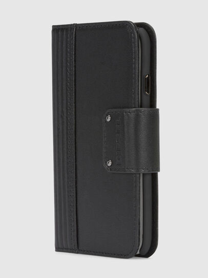 Diesel - BLACK LINED LEATHER IPHONE 8/7 FOLIO, Black - Flip covers - Image 2