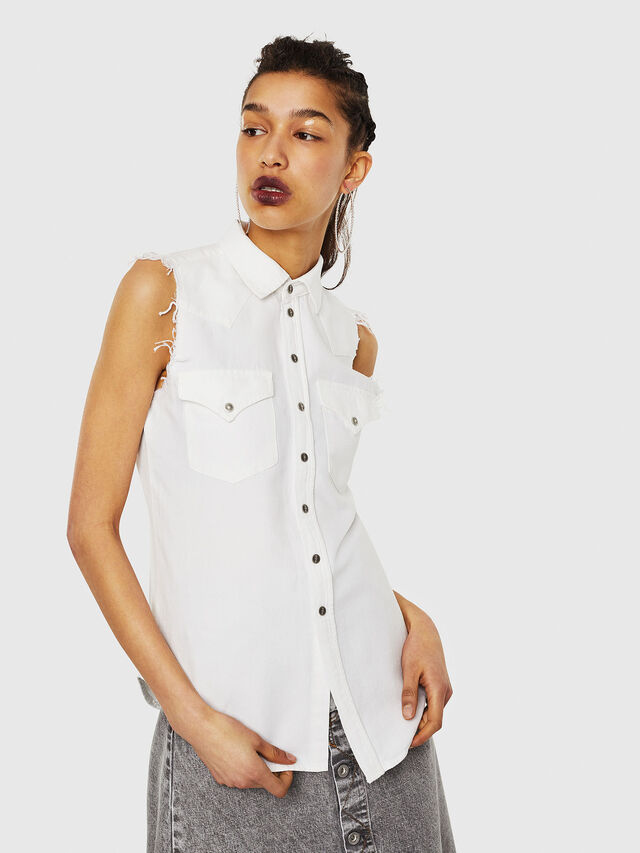 Diesel - DE-LOLLY, White - Denim Shirts - Image 1