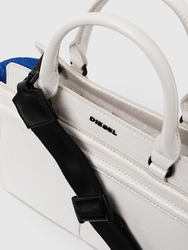Diesel - LE-ZIPPER SATCHEL S, White - Satchels and Handbags - Image 4