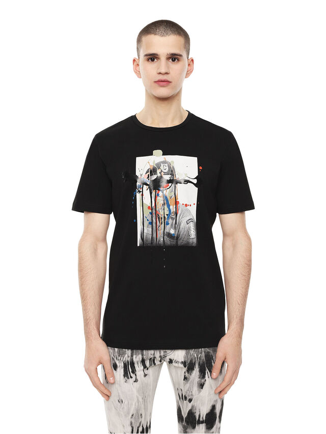 Diesel - TY-DRIPPINGSOLDIER, Black - T-Shirts - Image 1