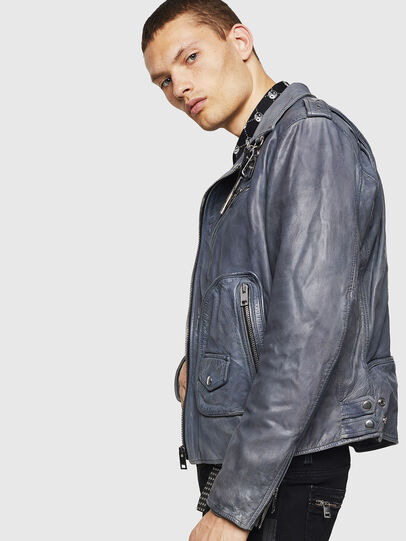 Diesel - L-KIOV, Blue - Leather jackets - Image 7