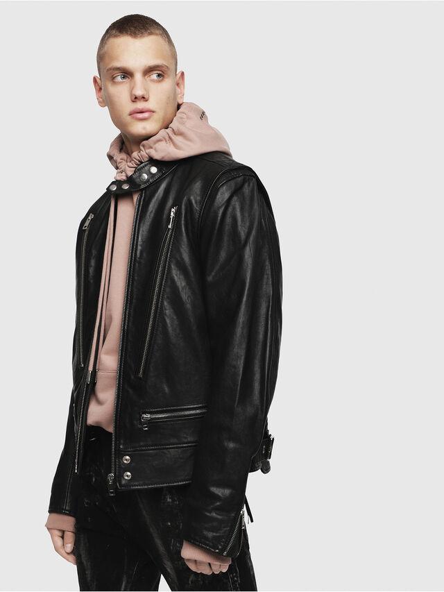 Diesel - L-KOJI, Black - Leather jackets - Image 1