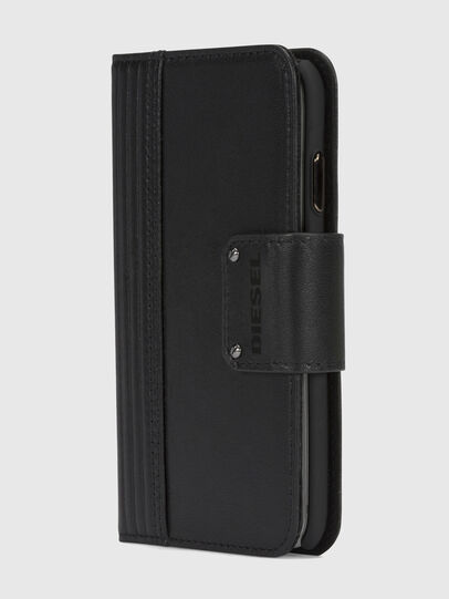 Diesel - BLACK LINED LEATHER IPHONE X FOLIO,  - Flip covers - Image 3
