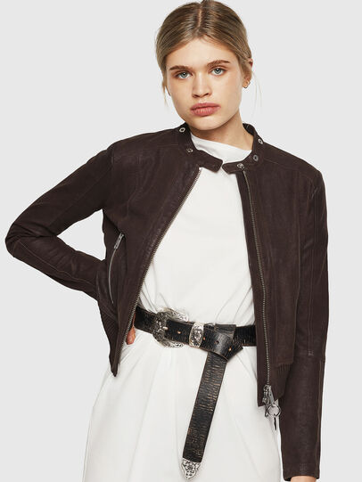 Diesel - L-LYSSA-G, Brown - Leather jackets - Image 5