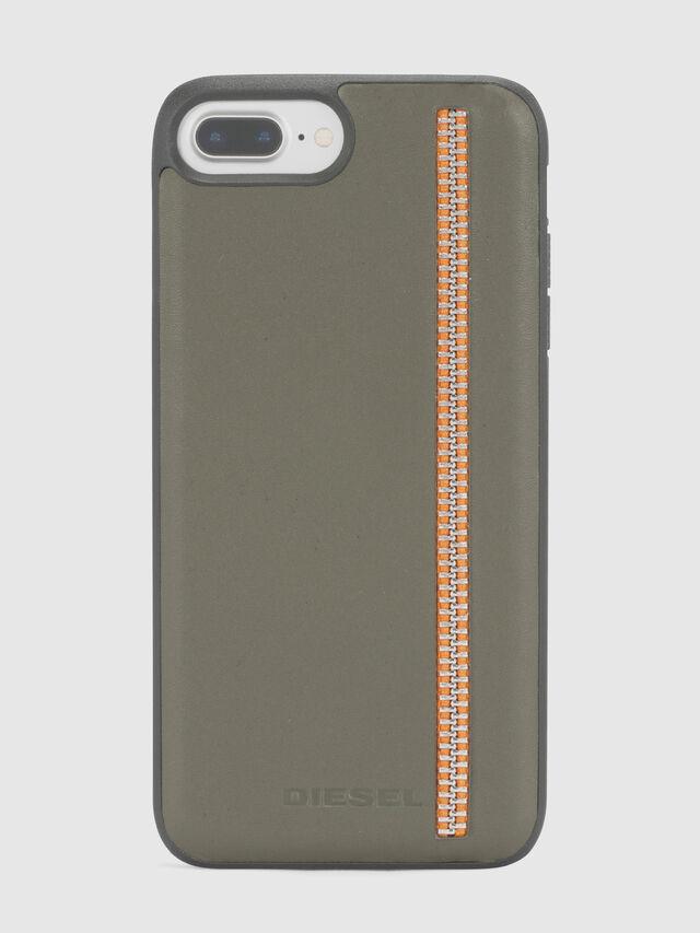 Diesel - ZIP OLIVE LEATHER IPHONE 8 PLUS/7 PLUS/6s PLUS/6 PLUS CASE, Olive Green - Cases - Image 2