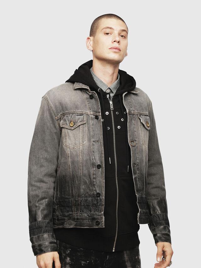 Diesel - NHILL, Black/Dark grey - Denim Jackets - Image 1