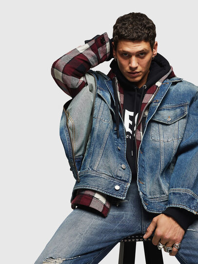 Diesel - D-LORY, Medium blue - Denim Jackets - Image 3