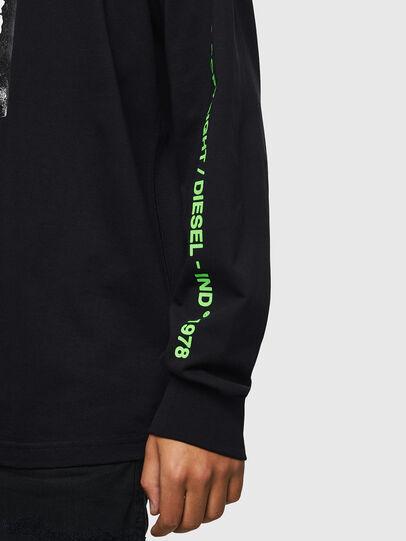 Diesel - T-JUST-LS-HOOD-J5, Black - T-Shirts - Image 3