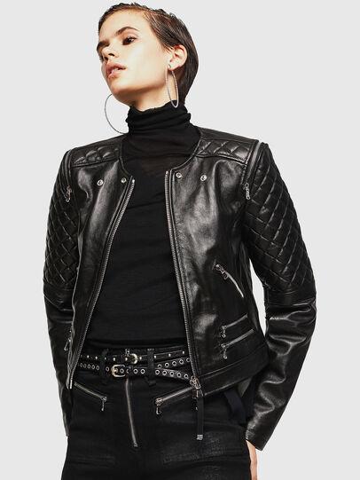 Diesel - LIVIA, Black - Leather jackets - Image 1
