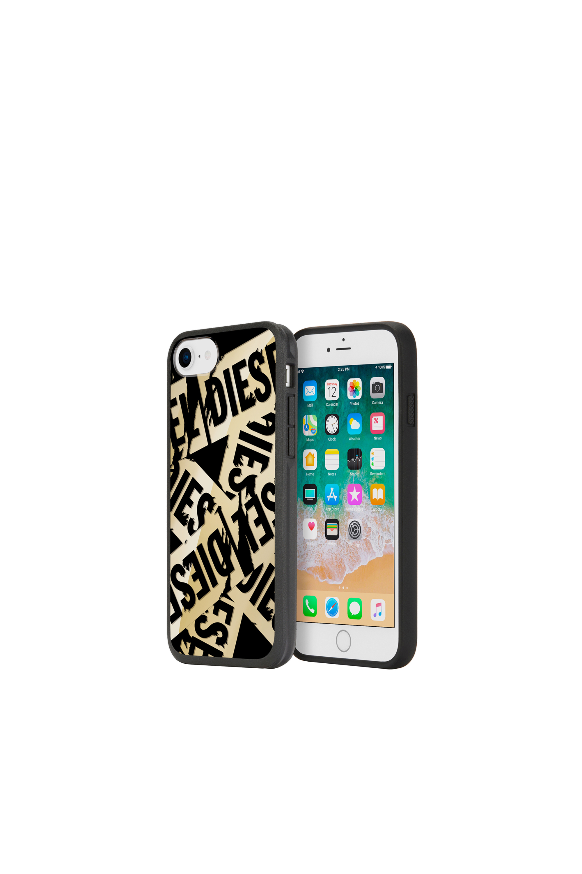 Diesel - MULTI TAPE GOLD/BLACK IPHONE 8/7/6S/6 CASE,  - Cases - Image 1